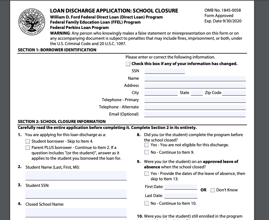 Official Student Loan Discharge Form